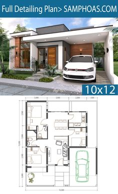 3 Bedrooms Home Design Plan - SamPhoas Plansearch Sketchup Modeling Home Plan This villa is modeling by SAM-ARCHITECT With 1 stories level. It's has 3 bedrooms. Home Plan House description: T House Layout Plans, Duplex House Plans, Bungalow House Plans, Bedroom House Plans, Dream House Plans, Modern House Plans, House Layouts, Small House Plans, Home Modern