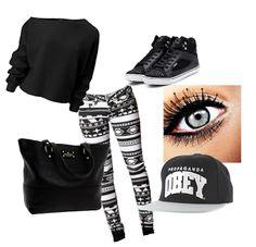 Pull noir+leggings motif noir et blanc+basket+casquette OBEY+maquillage travailler=