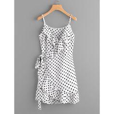 SheIn(sheinside) Polka Dot Wrap Self Tie Waist Frill Cami Dress ($16) ❤ liked on Polyvore featuring dresses, white, short dresses, white ruffle dress, white dress, short wrap dress and white polka dot dress