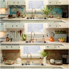 graphic world map backsplash. Fun. Put it behind a sheet of glass and trim with colored LED lites. Then when you're tired of it you can change it out with something else. Easy to keep clean too.