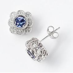 Simply Vera Vera Wang Sterling Silver Tanzanite and 1/6-ct. T.W. Diamond Flower Stud Earrings #kohls