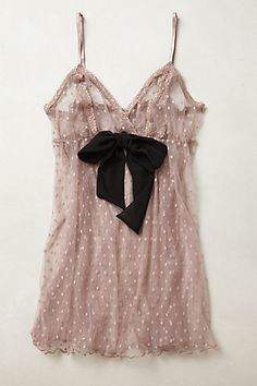sheer polka dot lavender babydoll with black bow #intimate #slip #sexy