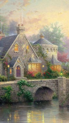 Very beautiful art work! – bahar elevli Very beautiful art work! Very beautiful art work! Classic Paintings, Beautiful Paintings, Beautiful Landscapes, Beautiful Scenery, Thomas Kinkade Art, Kinkade Paintings, Thomas Kincaid, Art Thomas, Landscape Paintings