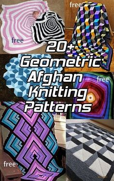 Afghan Knitting Patterns with Geometric, Op Art Designs, many free knitting patterns at http://intheloopknitting.com/bold-geometric-blanket-knitting-patterns/