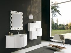 Bathroom: Open Bathroom Design Concept With Modern Circle Mirror Also With Light Brown Varnished Wooden Cabinet Surrounded By Granite Wall Including Black Sectional Rug Plus Glass Room Divider from How to Pick Bathroom Cabinet Ideas for Small Bathroom