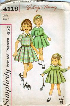 60's Girl's Retro Pleated Skirt One Piece Dress Size 4 Simplicity  4119 UNCUT FACTORY FOLDED.