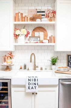 1227 best Easy Decorating Ideas images on Pinterest   Bathroom     Simple Fall Decorating in the kitchen  Open shelving styled for the season  with copper accents