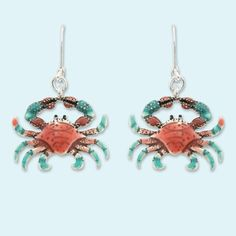 Red and blue crab earrings