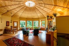 Upscale Yurt design using eco-friendly finishes including SoyCrete Concrete Stain as a modern, easy to clean, and cost effective flooring alternative.