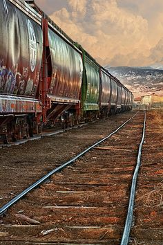 Train cars down the line next to the tracks. Fine art photography prints, decorative canvas prints, acrylic prints, metal Prints wall art  for sale on FineArtAmerica.com. Prints starting at $25. Copyright: James Bo Insogna