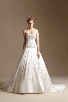 2014 Elaborately Sweetheart Beaded Bodice A Line Wedding Dress With Satin Skirt Chapel Train