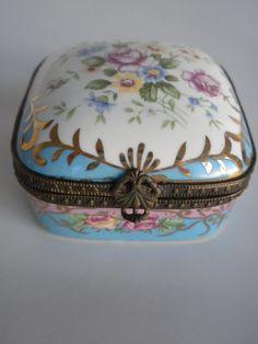 Antique Porcelain Trinket Boxes | Flowered, Porcelain Trinket Box, Hinged Porcelain Box, Jewelry Box
