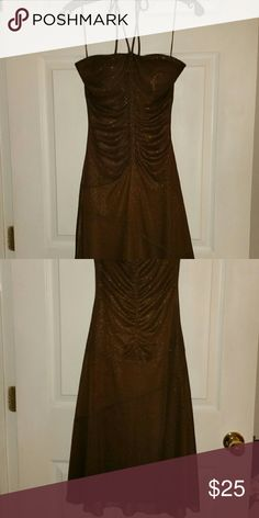 Le Chateau Strapless Dress w/optional tie Brown with shimmery overlay Le Chateau Dresses Backless