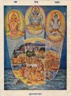 Lord Brahma, Vishnu & Shiva, The Creator Of Universe Vintage Kalyan (Hindi magazine) Gita Press, Gorakhpur. (via ebay: ashokmehta1955)