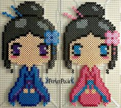 Blue and Pink Kimono Girls perler beads by PerlerPixie