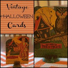 Seasonal decor is always fun, especially if it includes some vintage. Vintage Halloween cards are two items that I don't often see.