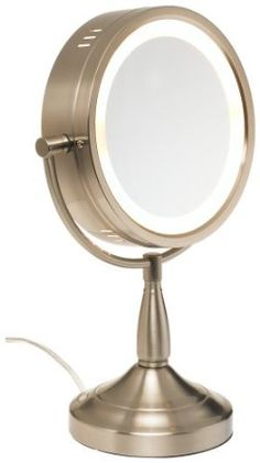 Large Lighted Table Top Makeup Mirror...nickel Finish