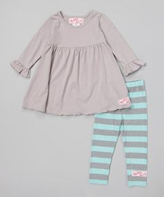 Look at this #zulilyfind! Robin's Egg Blue & Silver Dress & Leggings - Infant, Toddler & Girls by RuffleGirl #zulilyfinds
