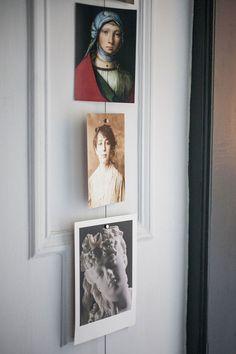 A trio of postcards against classic wall molding hint at her grandfather's past as an art collector.