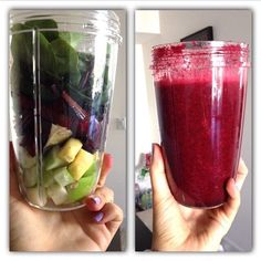 50% spinach, one small green apple, one lemon slice without the peel, one nub of ginger (peeled), one beet diced into cubes and two beet leafs/stems. Fill to the max line with water. Extract you yummy liver detox drink, #nutribullet style.