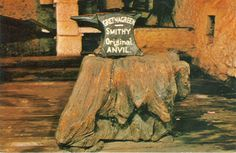 Postcard of Gretna Green, Scotland - shows the original marriage anvil in the Blacksmith's Shop. #postcards
