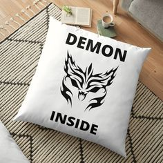 'Demon Inside' Floor Pillow by RIVEofficial Floor Pillows, Throw Pillows, Funny Humour, Pin Pin, Luxury Bedding Sets, Cute Tshirts, Halloween 2020, Custom Invitations, Printable Wall Art