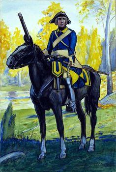 Västgöta regiment of horse 1748 by Einar von Strokirch Lead Soldiers, Toy Soldiers, Military Art, Military History, Military Uniforms, Kingdom Of Sweden, Swedish Army, Warfare, Troops