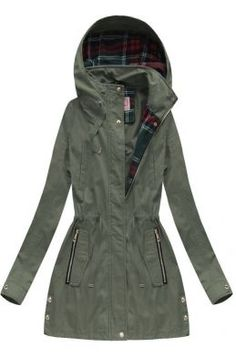 Dámska prechodná bunda parka khaki W158 Parka, Outfit, Coat, Jackets, Fashion, Outfits, Down Jackets, Moda, Sewing Coat
