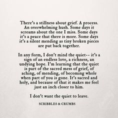 """There's a stillness about grief. A process.""  Scribbles & Crumbs                                                                                                                                                                                 More"