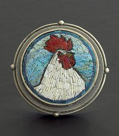 """Cynthia Toops: Rooster Brooch, Small round mosaic brooch in polymer micro mosaic. Sterling silver bezel by Chuck Domitrovich. 1 1/8"""" diamete..."""