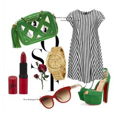 """Green and red"" by anteabikic ❤ liked on Polyvore featuring Burberry, Christian Louboutin, Choise, Chanel, Rimmel and Michael Kors"