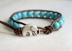 Elephant wrap bracelet boho jewelry good luck Blue Turquoise bracelet semi precious hipster gift for best friend lucky jewelry