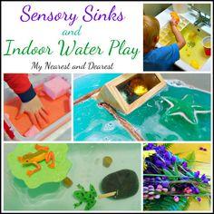 Sensory Sinks and Indoor Water Play// Ideas de juego sensorial con agua Sensory Activities Toddlers, Sensory Bins, Indoor Activities, Craft Activities For Kids, Kindergarten Activities, Sensory Play, Toddler School, Toddler Classroom, Toddler Fun