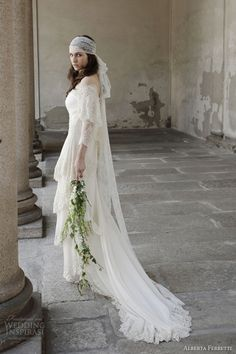 alberta ferretti 2014 bridal collection balmoral wedding dress off shoulder sleeves