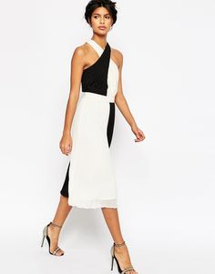 56fc739cc1 Image 1 of ASOS Pleated Cross Over Midi Dress Asos