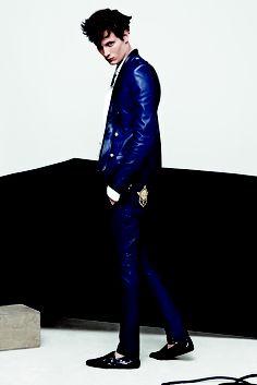 #Balmain - leather jacket and moccasins >