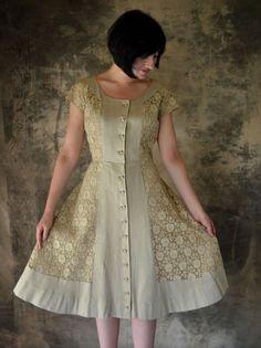 Hattie Carnegie 1940's Taupe Lace & Linen Party Dress by Petrune, $250.00