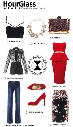 Hourglass body type, Dress for your body shape No matter what your body shape is, you can make the most of your gorgeous figure. Key pieces for an hourglass body shape. Fashion looks
