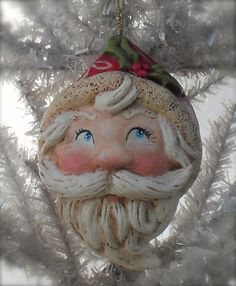 Holiday Sparkle by Cyndi LaChance New Santa Ornament - Paper Clay