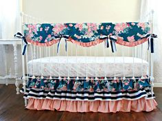 Coral and Navy Baby Girl Bedding, Stripe and Floral Chic, Coral and Navy Nursery, Bumperless crib bedding, Peach Crib Set, Navy Stripe, by LottieDaBaby on Etsy https://www.etsy.com/listing/262653249/coral-and-navy-baby-girl-bedding-stripe