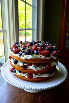 TRIPLE LAYER BERRY CAKE W/ LEMON CREAM AND THYME, just in time for Summer Parties