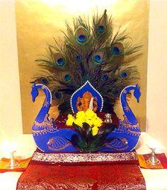 Vikhroli to Fiji: Readers' PIX of Ganpati Ganpati Decoration Design, Mandir Decoration, Thali Decoration Ideas, Ganapati Decoration, Stage Decorations, Diwali Decorations, Festival Decorations, Flower Decorations, Diwali Craft