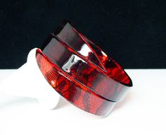 New Listings Daily - Follow Us for UpDates -  Description or Style:    Dark Red & Black Lace Lucite Bracelet - By Pass Wrap Gothic Style - Retro Modern 1990's Goth Fashion - offered by #TheJewelSeeker on Etsy.  This ban... #vintage #jewelry #teamlove #etsyretwt #ecochic #thejewelseeker ➡️ http://etsy.me/2kn81hu