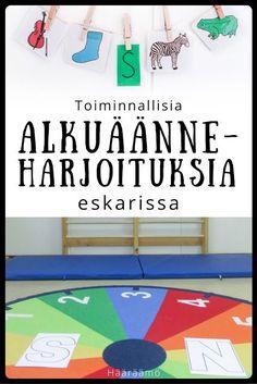 Toiminnallisia alkuaanneharjoituksia eskarissa Finnish Language, Preschool, Kids Rugs, Teaching, Education, Words, Peda, Speech Language Therapy, Kid Friendly Rugs