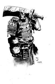 Samurai Hellboy by Stephen Green