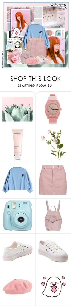 """— my friends dont walk."" by julia-ngo ❤ liked on Polyvore featuring GE, Nixon, Darphin, OKA, Topshop, Fujifilm, French Connection, Rocket Dog, Pink and Blue"