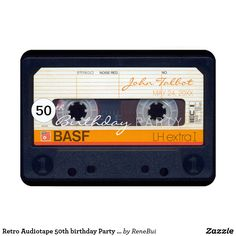 Shop Retro Audiotape birthday Party Invitation created by ReneBui. Personalize it with photos & text or purchase as is! 50th Birthday Party Invitations, 50th Birthday Cards, Birthday For Him, 60th Birthday Party, Retro Birthday, Birthday Ideas, Birthday Gifts, Happy Birthday, Save The Date Postcards