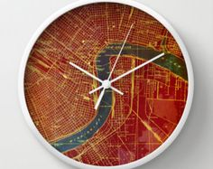 Red Wall clock New Orleans 1932, Blue river Vintage Antique Old Map, Original office decor. White frame, white hands. Abstract art