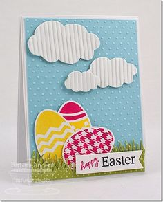 Love the crimped clouds, embossed dots background—sweet!