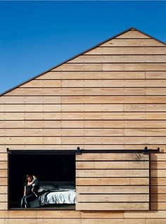 What is better than blue sky and a modern barn house? Architecture Design, Residential Architecture, Wood Facade, Timber Cladding, Shed Cladding, Shed Homes, Cabin Homes, Modern Barn, House In The Woods